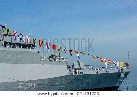 Pattaya, Thailand - November 18, 2017, Mariners in activity of fleet review on warship running on sea on the 50th anniversary ASEAN international fleet review 2017 drill in Pattaya, Thailand
