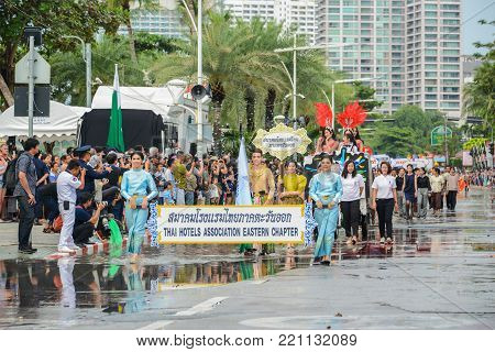 Pattaya, Thailand - November 19, 2017: The Hotels Association Eastern Chapter parade marching on the 50th anniversary ASEAN International Fleet Review 2017 to promote tourism in Pattaya city of Thailand