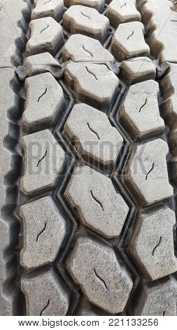 Close up of industrial truck tire treads