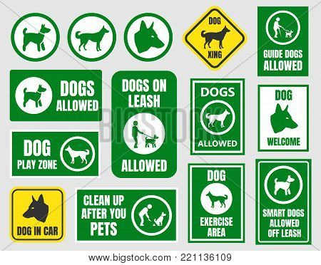 dogs friendly sign, pet allowed set, dog in car and xing