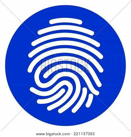 Illustration of finger print blue circle icon