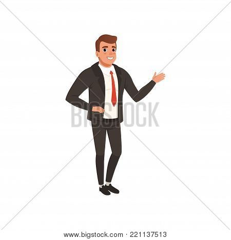 Young self-confident business man standing and waving hand. Cartoon male character in classic black suit with red tie. Successful office manager. Flat vector illustration isolated on white background.