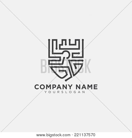 Shield Security Icon. Protection logo. Shield concept. Flat design emblem Vector illustration. technology logo design.