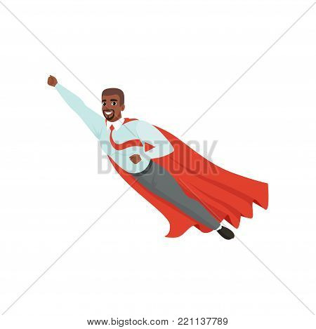Cartoon afro-american man with superhero cloak flying with hand up. Successful businessman character in blue shirt, red tie and gray pants. Leadership and achievement concept. Flat vector illustration