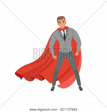 Young confident business man with red superhero cape standing in powerful position. Handsome male character in stylish gray suit, blue shirt and black tie. Flat vector illustration isolated on white.