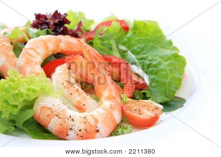Prawn salad with mixed greens tomatoes and peppers and king-size shrimp. poster