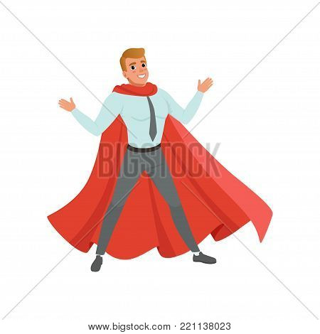 Successful business man standing with arms wide open. Cartoon male character in blue shirt, gray pants and classic red superhero cape. Concept of career advancement. Isolated flat vector illustration.
