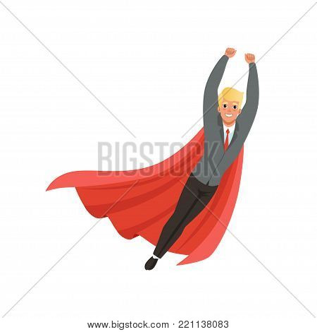 Cheerful business man with classic superhero mantle in flying action with hands up. Cartoon young guy character in stylish gray suit, blue shirt and tie. Office worker. Isolated flat vector design.