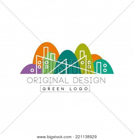 Abstract factory building with chimney in linear style. Colorful park on background. Flat vector illustration isolated on white background. Creative graphic design for business card, flyer or label.