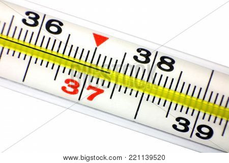 Glass mercury thermometer. Medical thermometer. Medical instrument.