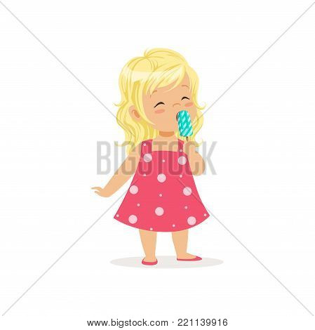 Beautiful little girl enjoying delicious ice-cream. Summer delicious dessert. Cartoon child character with long blond hair wearing cute pink dress. Colorful flat vector illustration isolated on white.