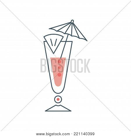 Tropical fresh cocktail in long glass with slice of lime and umbrella. Concept of alcoholic beverage in linear style with pink fill. Flat vector icon. Illustration isolated on white background.