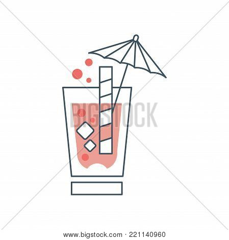 Summer cocktail with cubes of ice, bubbles, straw and decorative umbrella. Simple drinking glass sign in thin line style with pink fill. Graphic design for logo. Vector illustration isolated on white.