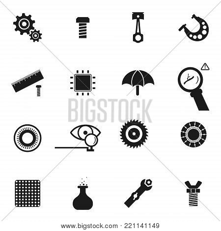 Micrometer. Cogwheel and Gears pictogram. Piston engine. Screw and bolt. Wing nut and butterfly nut. Spanner. Umbrella. Scheme. Eye and optic. Flask. Cogwheel. Circular saw. Simple icon in vector
