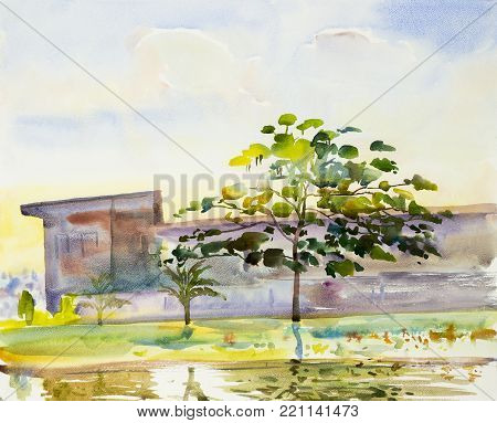 Watercolor painting original landscape on paper colorful of reservoir trees garden view in the beauty spring season blue sky cloud background. Painted Impressionist, illustration image.