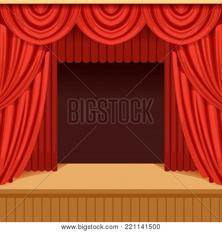 Open theater scene with red curtain and dark scenery. Wooden stage with scarlet velvet drapery and pelmets. Colorful background for event or performance poster, card. Vector flat cartoon illustration.