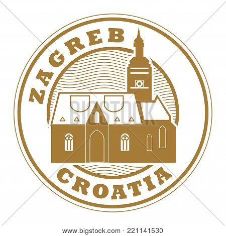 Stamp with words Zagreb, Croatia inside, vector illustration poster