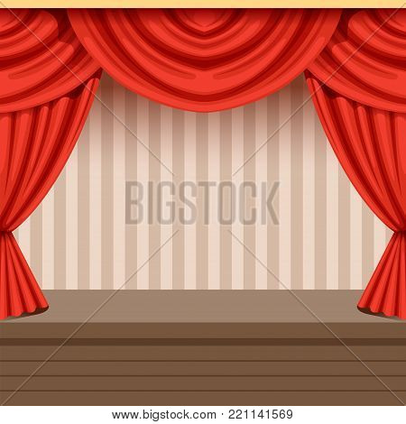 Retro open theater scene background design with red curtain and striped backdrop. Wooden stage with velvet drapery and lambrequins. Colorful interior illustration for event poster, card. Flat vector