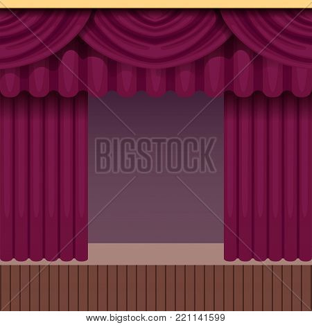 Vintage theater or opera scene background with purple curtain. Stage with velvet drapery and pelmets. Colorful interior frame for poster or card with place for text. Vector flat cartoon illustration.