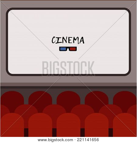 Flat interior cinema hall illustration with rows of comfortable red sits in front of screen with place for text. Movie premiere poster or card design. Theater colorful background. Cartoon vector.