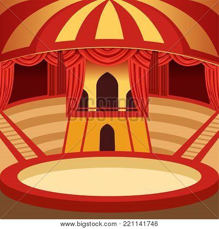Amazing circus arena cartoon design. Classic amusement performance stage with yellow and red striped dome, sits and curtains, velvet drapery. Background for poster or invitation. Vector illustration.
