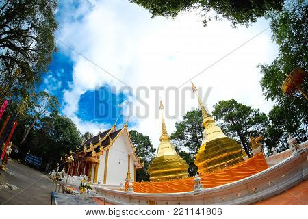 Wat Phra That Doi Tung At Chiangrai Province, Northern Of Thailand.