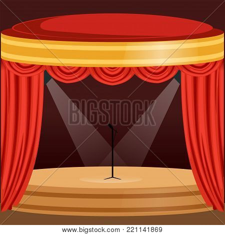 Bright theater or music concert scene with red curtain, lights and microphone stand in the center. Wooden stage with drapery and pelmets. Colorful background for invitation poster. Flat cartoon vector
