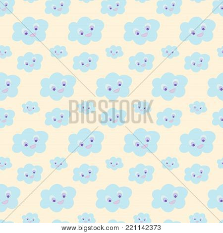 Cloud pattern for nursery. Baby bedding, nursery pattern. Seamless baby pattern with cute blue smiling clouds on yellow background. Vector illustration for baby fashion, textile, wrap, print design.