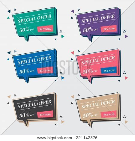 Flat sale banner design templates in memphis retro style. Modern speech bubble balloon. Speech bubble design template. Special offer banner design vector. Empty word bubble for text, speak, chat, talk.