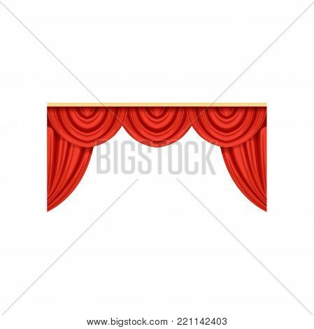 Icon of red silk or velvet curtains and pelmets for theater or circus stage. Cartoon classical scarlet drapery with lambrequins. Design element for interior decoration. Flat vector isolated on white.