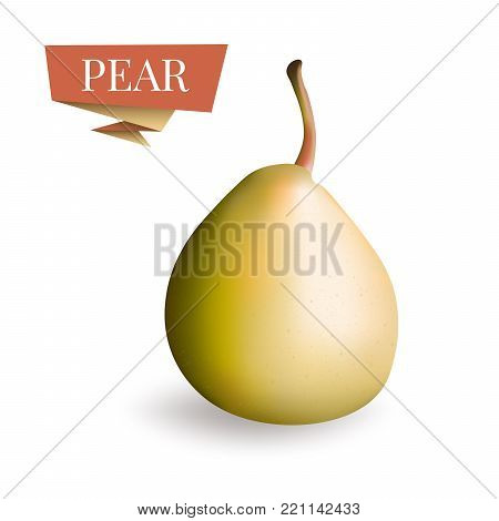 Isolated picture of pear fruit. 3d pear vector illustration. Pear icon, art, clipart in realistic style. Realistic yellow pear illustration. Fruit 3d for card, web, label, package design.