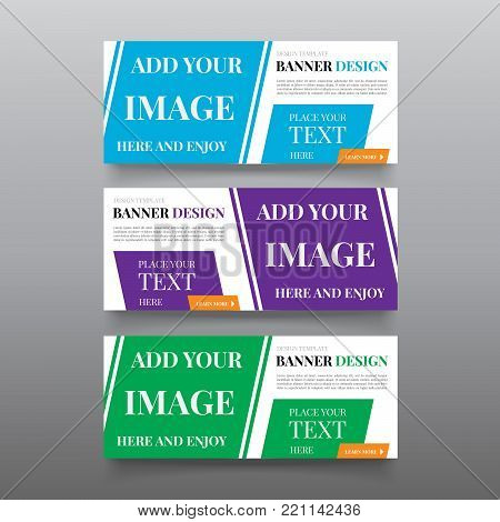Diagonal banner design templates. Web banner design vector with text, button. Editable Website banner template. Business, promotional, company banners ad design. Cta banner advertising.