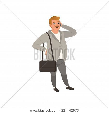 Self-confident businessman standing with bag on shoulder and talking on phone. Cartoon fat man character in stylish outfit gray cardigan, pants and white shirt. Isolated flat vector illustration.