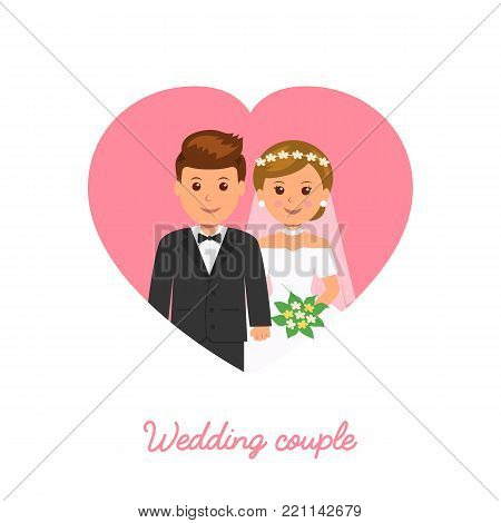 Married couple. Wedding icon. Marriage invitation. Vector illustration in flat style.