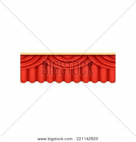 Red silk or velvet pelmets for theater stage. Cartoon classical scarlet theater drapery lambrequins with light and shadows for opera decor, presentation design