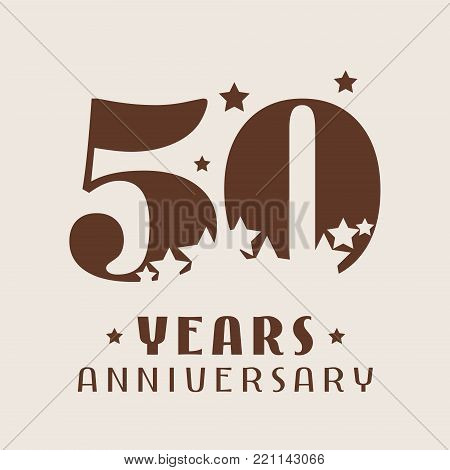 50 years anniversary vector icon, logo. Graphic design element with number and stars decoration for 50th anniversary