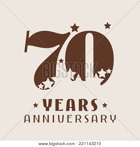 70 years anniversary vector icon, logo. Graphic design element with number and stars decoration for 70th anniversary