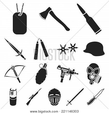 Types of weapons black icons in set collection for design.Firearms and bladed weapons vector symbol stock  illustration.
