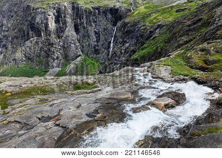 view of waterfalls troll road Trollstigen, Norway
