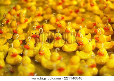 Fairground hook a rubber duck chance game concept fo risk and luck