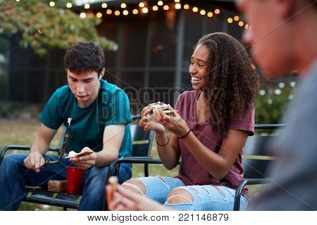 Teenage black girl making sÃ?more with friends at a fire pit