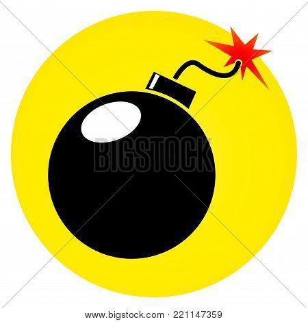 Illustration of bomb circle icon on white background