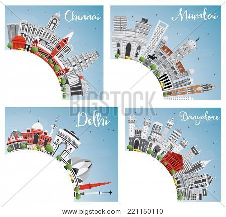 Chennai, Mumbai, Delhi and Bangalore City Skyline with Gray Landmarks, Blue Sky and Copy Space. Business Travel and Tourism Concept with Historic Buildings. Set with Indian Cities.