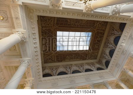 ST. PETERSBURG, RUSSIA - APRIL 24, 2017: Sculpture and a fragment of ceiling in the Russian Museum. It's the widest museum of Russian art in the world