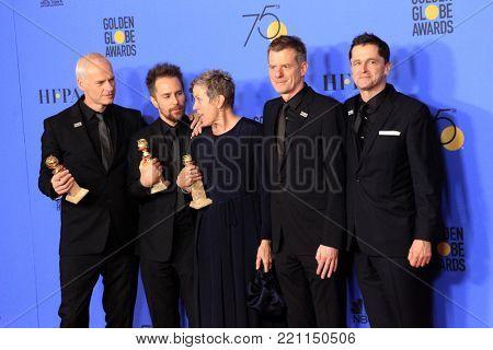 LOS ANGELES - JAN 7:  Martin McDonagh, Sam Rockwell, Frances McDormand, Graham Broadbent, Peter Czernin at the Golden Globes Press Room at Beverly Hilton Hotel on January 7, 2018 in Beverly Hills, CA
