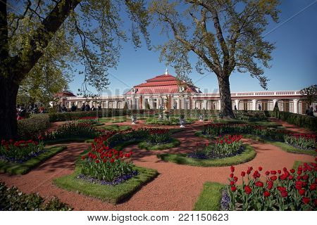 PETERHOF, ST. PETERSBURG, RUSSIA - JUNE 4, 2017: People walking in Monplaisir Garden in front of Monplaisir palace. The palace was built in 1714-1723
