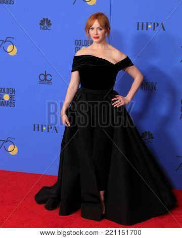 LOS ANGELES - JAN 7:  Christina Hendricks at the 75th  Golden Globes Press Room at Beverly Hilton Hotel on January 7, 2018 in Beverly Hills, CA