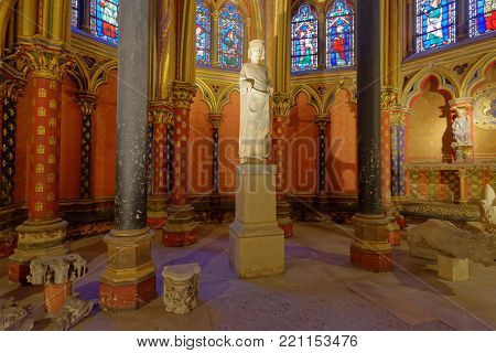 PARIS, FRANCE - SEPTEMBER 13, 2013: Interior of lower chapel in the Sainte-Chapelle. Built in seven years, the Sainte Chapelle was intended to house precious Christian relics, acquired by Saint Louis