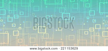 yellow-green abstract background of squares and circles