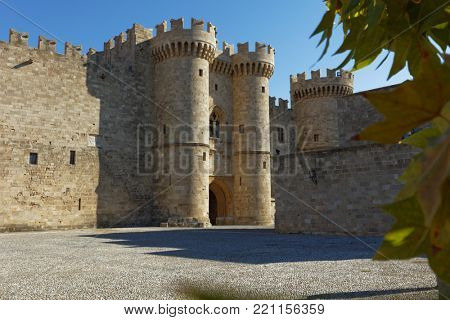 RHODES, GREECE – OCTOBER 9, 2017: Main entrance to the Palace of the Grand Master of the Knights of Rhodes. The palace was built in XIV century, and since 1988 is listed as UNESCO World Heritage
